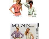 Vintage 80's Blouse Pattern, Misses Blouse Sewing Pattern, Ladies Blouse, Misses size 20, Bust size 42, McCall's 7392, Button Up Blouse