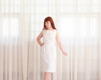 1950s Dress - 50s Little White Dress - Clean Slate Dress