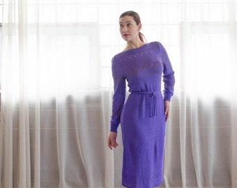 Vintage 1970s Knit Dress - 70s Sweater Dress - Plum Island Dress