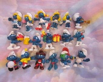 Vintage Smurfs PVC Figures Lot of 17