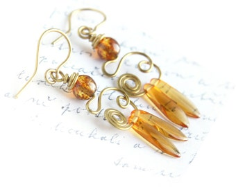 Summer Party Honey Drop Earrings Wire Wrapped Earrings Dangle Earrings Hand Forged Earrings Boho Earthy Rustic Tribal Beach gift for woman
