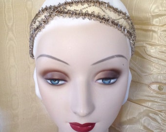 Victorian 1900- 1920's style headband of tea dyed antique beadwork in ivory and tarnished new years eve headpiece - ready to ship