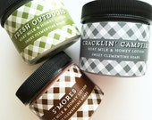 Body Lotion, Camping Goat's Milk and Honey Hand and Body Lotion Collection, Lotion Sampler, Smores, Fresh Outdoors, Cracklin Campfire