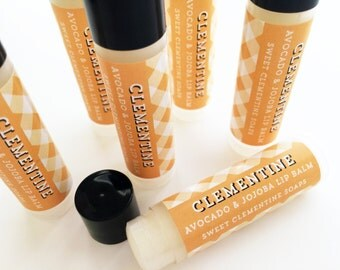 Clementine Lip Balm, Moisturizing Avocado and Jojoba Oil Lip Balm, Lip Gloss, Lip Care, Orange Lip Balm