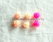 Pink Rose Post Stud Earrings Surgical Steel Posts USA 6mm Choose Shade of Pink