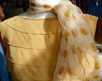 Rockabilly Scarf /Vintage 1950s 60s Mustard white Polka Dot  Nylon Sheer Rockabilly Scarf /Vintage 1950s 60s #RB10