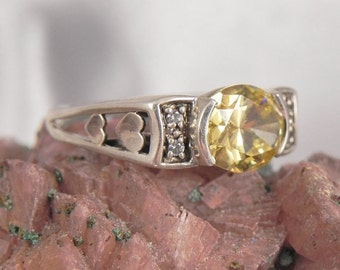 Genuine Citrine Heart Sterling Silver Ring