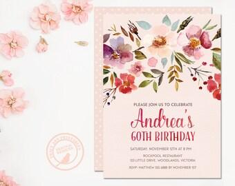 60th birthday invitations | Etsy AU