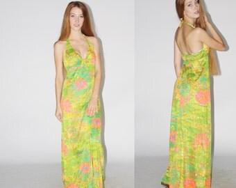 1960s Vintage Floral Maxi Dress  - Vintage 60s Halter Maxi Dress - Vintage Summer Maxi Dresses  - WD0445