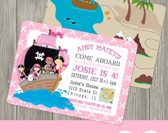 Pirate Birthday Invitation - Girl Pirate Birthday Party Invite - Birthday Invitation