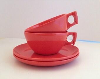 1950's Melamine Tea Cups and Saucers -set of 2 - Orange Glow Copper by Spaulding Dinnerware