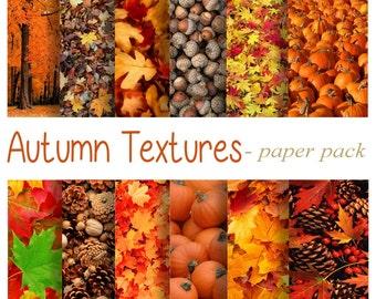 AUTUMN TEXTURES Paper Pack- 12 Digital Papers - Fall Pumpkins,Colored Leaves, Pinecones,Acorns, Landscape - Printable Download -paper crafts