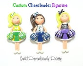 Custom Cheerleader - Pendant, Bow Center, Charm, Magnet, Brooch, Cheerleader Ornament, Personalized Cold Porcelain Clay Cheerleader Figurine