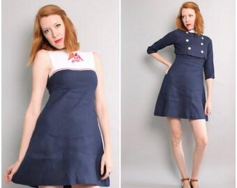 1960's 2-Piece Mini Dress and Cropped Jacket / Rayon / Nautical Sailor / Small / XS