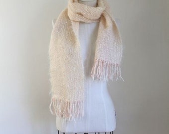 50% OFF...last call // vintage mohair scarf - BARELY PINK fringed scarf