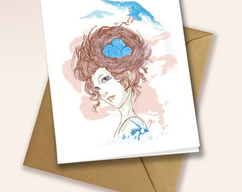 Blue Birds and egg nest - blank greeting card