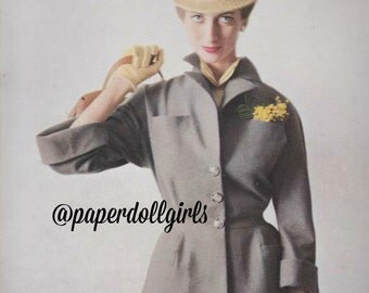 Vintage Fashion Magazine Advertisement French Vogue April 1950 Ad Paris Hat Suit Piguet Desses Haute Couture Jean Patchett Fashion Model