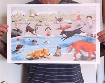 New Mini Poster Swimming Diving Dogs Print of Original Illustration Large Size 11 x17
