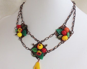 Colorful Fruit Plate Festoon Necklace