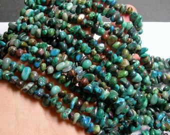 Chrysocolla  gemstone - bead - full strand - pebble - 6mm - 8mm  chip stone - PSC276