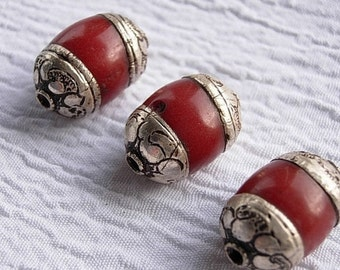 Tibetan red resin beads, tibet red and silver beads, ethnic beads, boho style, large red beads, silver bead caps, tribal beads.
