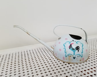 Vintage Metal Watering Can With Rooster by Ohio Art USA, White Blue Pink Scandinavian Style Folk Art