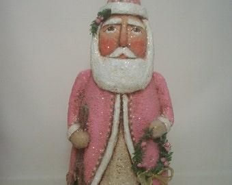 RESERVED FOR KATHY Santa Folk Art Pink Paper Mache Primitive