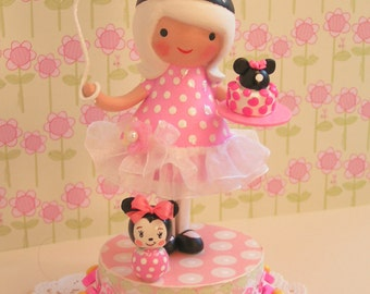 Minnie Mouse Cake Topper, Made To Order Heirloom Keepsake,Birthday Party Decoration,Handmade Decoration, Little Girl Toddler 1st First Third