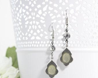 Silver Victorian Drop Earrings – Artisan Edwardian Dangle Earrings – Rhinestone Crystal Earrings – Long Artisan Jewelry Earrings - E31