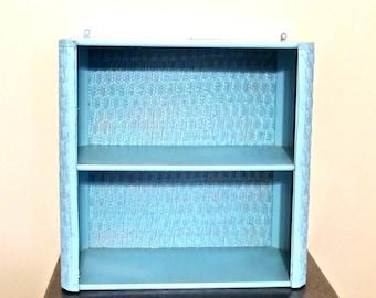 vintage wall shelf - 1960s mid century blue woven wall shelf