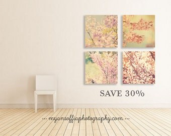 nature prints, nature photography print, set of 4 photos, cherry blossom art, jacaranda tree photo, girls room wall art, baby room decor