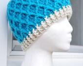 Crochet Lattice Hat - Bright Blue, Sincerely