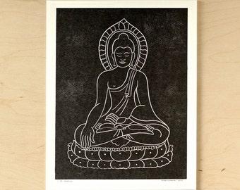 Buddha - Handmade Linocut Print