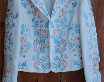 White embroidered Blazer