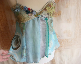 little jade - a  boho collage couture top in turquoise and lime
