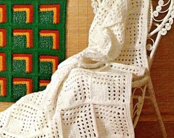 vintage crochet pattern geometric eyelet granny square motif afghan blanket printable pdf download 1970 patchwork