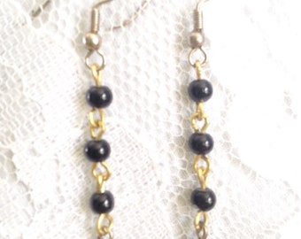 Black Polished Glass and Gold Drop Bead Dangle Earrings - Mid Century Modern - Vintage Inspired