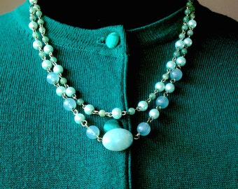 Jade, Amazonite, Pearl and Sterling Silver Bead Multi-Strand Drop Dangle Necklace & Earring Set - Mid Century  Modern - Vintage Inspired
