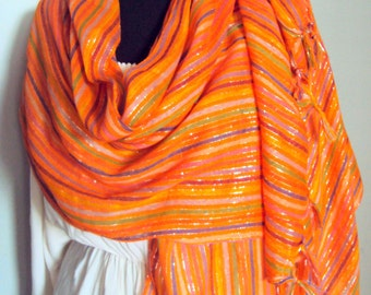 Hand Woven Lightweight Orange Pashmina Shawl Scarf Spring Scarf Summer Scarf Swimsuit Cover Up Women Fashion Accessories