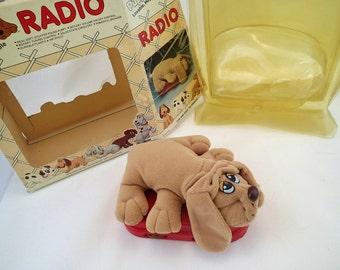 Vintage Pound Puppies Tonka Radio MIB In Box Unused New Brown Puppy Dog Red Kids Radio Playtime 80s Iconic Cartoon Retro Plush Novelty