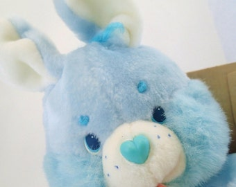 Vintage MIB Care Bears Swift Heart Rabbit Blue Bunny Plush Original 80s Toy Kenner Cousins Easter Spring Pastel Baby Blue