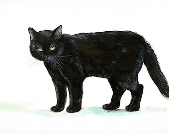"""Art Original Watercolor Animals Pets  """" Black CAT """""""