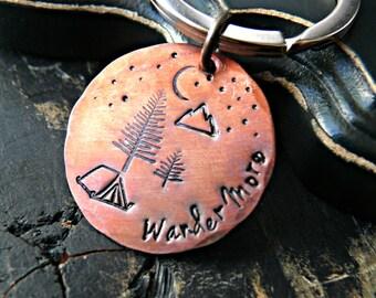 Wander More Hand Stamped Keychain - Adventure Keychain - Camping Keychain - Mountains Keychain - Outdoors Keychain