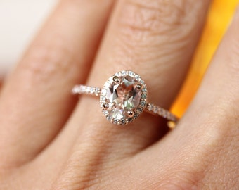 Oval Morganite Halo Engagement Ring/ rose gold engagement ring