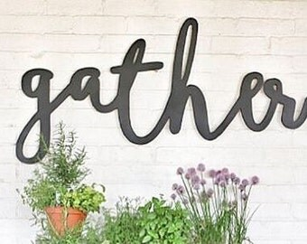 Large Painted Gather Word Wood Cut Wall Art Sign Decor