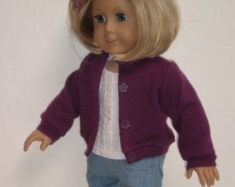 PURPLE WOOL SWEATER Molly or Emily 18 inch doll clothes