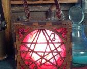 Steampunk Nercronomicon symbol box, Cthulhu warding, H P Lovecraft  Glowlamp, unisex Attach corsets or belts.