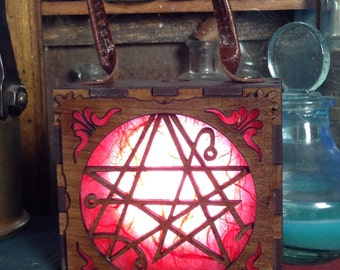 Steampunk Nercronomicon symbol box, Cthulhu warding, H P Lovecraft  Glowlamp, unisex Attach corsets or belts.
