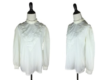 70s Bib Blouse / 1970s Boho Blouse / Vintage White Lace Shirt / 70s Victorian Blouse / White Long Sleeve Top / Lace Blouse / Bryn Mawr M