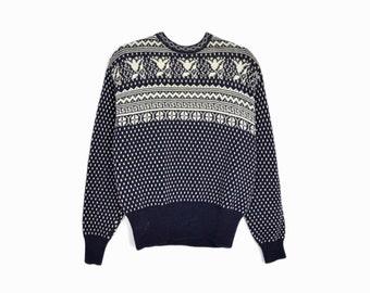 Vintage 90s Nordic Birdseye Sweater in Navy Blue / 90s Winter Sweater / Angora Blend Sweater - women's xs/small